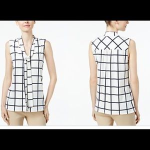 Charter Club windowpane blouse with tie detail.